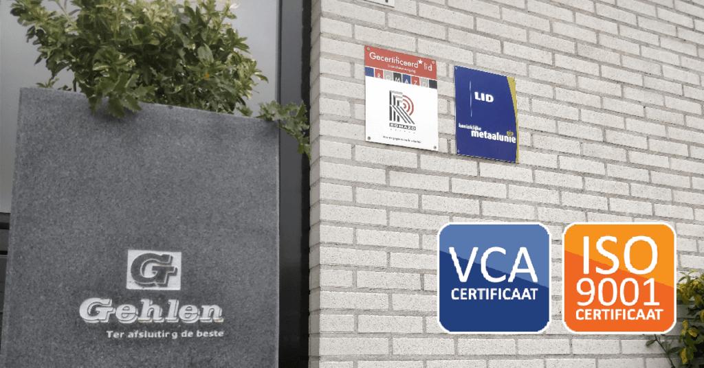 ISO 9001 - VCA - Gehlen Zonwering