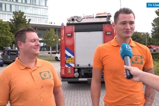 Monteurs Lars en Stef bevrijd na urenlang vastzitten op grote hoogte